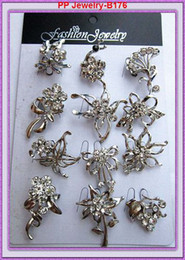 Wholesale Cheap price 24PCS LOT Clear Rhinestone Crystal Lovely Small Mixed Brooches People Collar Brooch Pins