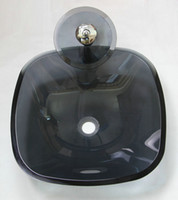 Wholesale Black chrome Circle glass bathroom sink basin DH