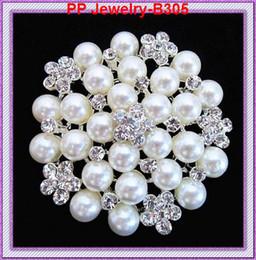 Rhinestone Crystal Wedding Bridal Bouquet Flower Pearls Brooch Pin B305
