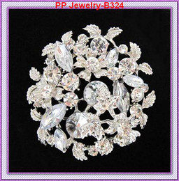 Free Shipping 6PCS LOT Silver Tone Fancy Flower Wedding Bouquet Brooch Wedding Bouquet B324