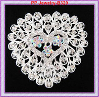 Wholesale HUGE quot HEART BROOCH PIN WEDDING BRIDAL CORSAGE CRYSTAL SILVER PLATED B329