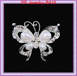 crystal&pearl silver butterfly brooch pins,decoration brooch B416