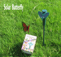 Wholesale Novelty Solar Powered Butterfly Artificial Simulation Dancing Flying Butterflies Kids LED Toys Grass Balcony Garden Decoration color random