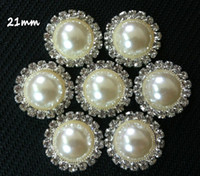 Wholesale mm Rhinestone amp Pearls Buttons Flat Back Crystal amp pearls accessories DIY accessories for headbands hairbands hair clips