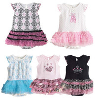 Leopard Halloween Girl Baby One-Piece & Romper Girls Dress TUTU yarn skirt short sleeve Rompers Hot Sale
