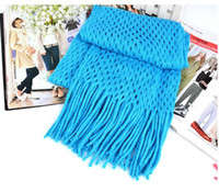 Wholesale Fashion Winter Mesh Tassel Wool Scarf Knitting Wool ladies scarf shawl collar
