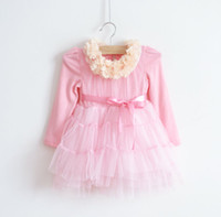 baby girl kids long sleeve cotton dress lace dress flower fl...