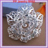 Wholesale Silver Tone Stunning Clear Crystal Rhinestone Huge Rose Brooch PIN Wedding Floral Brooch B560