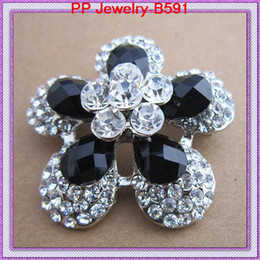 Vintage Style Good Quality Guarantee Amazing Black Rhinestone Wedding Dress Corsage Bridal Costume Brooch Pins B591 Stylish Diamante Flower