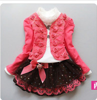 Wholesale 1 set retail New girl clothing set knitted suit lace shirt bow tutu skirt children dress suits