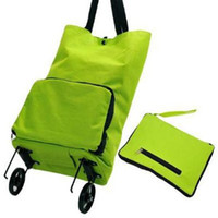 Trolley Plain Microfiber Free shipping Shopping traveling bag  creative Portable folding wheel bag Convenient shopping bags