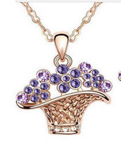 Wholesale Confirmed the color plating Austrian crystals ShanZuan basket necklace multicolor optional element