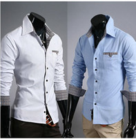 Men uyuk - 2013 Hot New Korean style Man Fashion UYUK Luxurious Lining white Blur Lattice Patch Decoration Slim Man Shirt