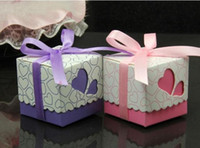 Favor Boxes Purple Paper christmas candy box purple 100pcs Heart Wedding Favor box Marriage Party Boxes