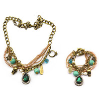 Wholesale vintage Style bronze metal chain pearl ring letter beads snowflake skull green crystal drop Necklace bracelet set set