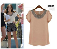 Short Sleeve Chiffon Brandnew with hangtag 2014 Vintage Promotion!! Beaded Blouse Women Fashion Ruffled Short Sleeve Chiffon Plus Large Size Top White,Nude XS-4XL