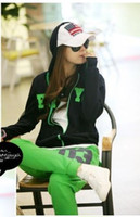 Wholesale 2014 Hotsale Women NO Hooded Jogging suit With Long Pant Korean Plus Large Tracksuits Green Yellow M L XL