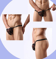 Wholesale 5pcs sexy panties t back Jockstrap breathable transparent mens mesh G Strings thongs