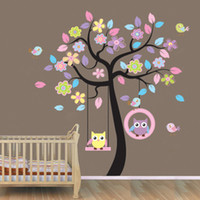 Wholesale New removable vinyl wall stickers set Colorful tree and owls home decor Giant wall decals for kids rooms cm JM7186