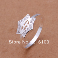 Wholesale sterling silver Ring Gift Box Women mens r204 Fashion jewelry Crystal zircon star Ring
