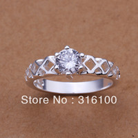 Wholesale sterling silver Rings r197 Gift Box Women men Fashion jewelry zircon Ring