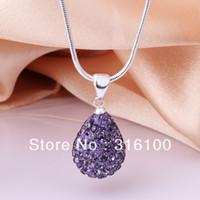 Wholesale 5pcs colors silver crystal zircon Shamballa water drop pendant necklace