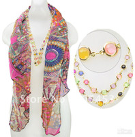 Wholesale Fashion Silk Palace Style With Colourful Crystal Pendant Elegant Jewelry scarves Promotion Necklace