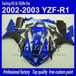 Custom motorcycle fairings for YAMAHA 2002 2003 YZF-R1 02 03 YZFR1 02 03 YZF R1 YZFR1000 glossy blue black bodywork fairing MM41