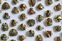 Gothic gothic jewelry - 50pcs Big Gothic Skull Carved Biker Rings Colorful Rhinestone Oil Drop Craft Gold Tone Finger Ring R553 New Jewelry