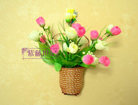 Wholesale Simulation Rose Flower Artificial Rose flower with wall hanging basket set