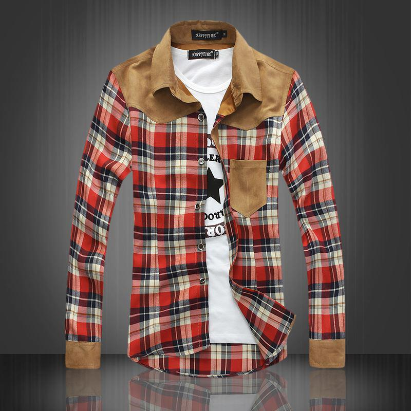 2017 Men'S Plaid Shirt Men 2013 New Mixed Colors Hit The Color ...