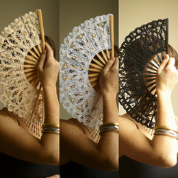 Wholesale Vintage Lace Hand Fan for Dancing Wedding Bridal Party Photo Props Costume Accessory Black White Ivory for Choose