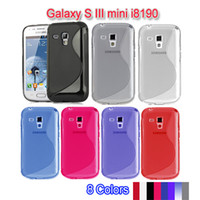 TPU For Samsung many colors for choice Wholesale S line Soft TPU Gel Case For Samsung Galaxy S III mini i8190 by DHL Free Shipping