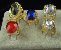 Mix lot 10Pc New Fashion Facet Cut Glass Stone Rings Mix Siz...