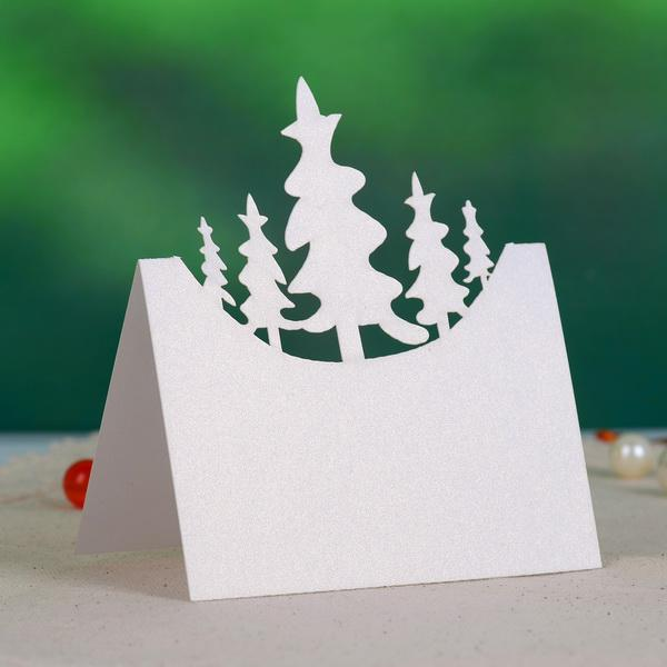 1075cm White Card Paper Laser Christmas Tree Wedding Place Card Table Card Formal Wedding