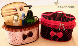 Wholesale NEW fashion Portable little Bow Waterproof Foldable Makeup Case Zipper Cosmetic Bag Floral Lace With mirror