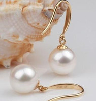 14k gold earrings - AAA mm Round south sea white pearl K gold earrings