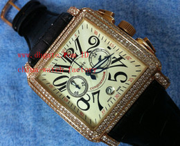 Wholesale Factory Supplier Luxury Top Quality Wristwatch Full Diamond Rose Gold White Dial Leather Strap Chronograph Mens Watch Men s Watches