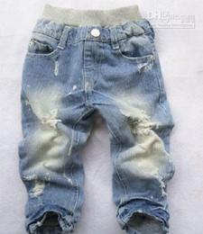 Wholesale Boys Jeans Children Jean baby pants Boy s Jeans Cowboy pants Holes pants trousers asdy xc