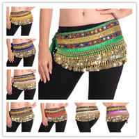 Unisex belly dance supplies - 2013 New Colors Rows Gold or silver Coins Belly Egypt Dance Hip Skirt Scarf Wrap Belt Costume Dance Supplies