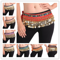 Wholesale Fashion Colors Rows Coins Belly dance Belt Hip Scarf Wrap Costume Skirt Sexy Dancing Belly Dance Costume Belt
