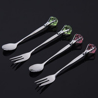 Wholesale 60Sets Luxury Diamond Shaped Tableware Stainless steel Spoon and Fork Suit Wedding Gifts