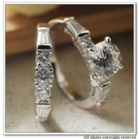 Women's Engagement Fashion Alloy with18k White Gold Plated Ring Zirconia CZ Stone, Women Wedding Rings Set Classic Jewelry, Wholesale Free Shipping,WR038