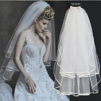 Ribbon Edge beauty level - Bridal Accessories Concise Beauty Tulle Layer Multi Level Satin Edge Bridal Wedding Veils
