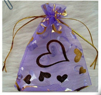 Wholesale 200 cm x cm Purple Organza Gift Bags With Gold Heart Printed Wedding Favor Jewelry Pouchs