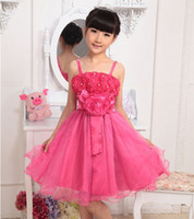 TuTu girls boutique clothes - girl clothing princess full dress rose Classical wind Boutique pure cotton sleeveless kids dress year baby dresses FS86