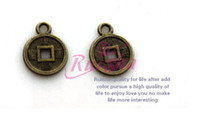 Charms antique copper findings - antique brass metal alloy copper cash jewelry finding bracelet keychain pendant necklace bag decoration handcraft DIY material