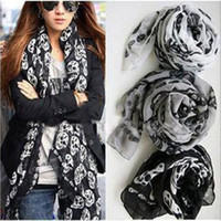Wholesale Fashion Women Cool Big Skull Head Skeleton Scarf Neck Wrap Shawl Stole Warm Winter Cotton Linen