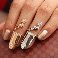 Party double finger ring - New Fashion Gold Double Alloy Adjustable Flower Finger Nail Ring Tip
