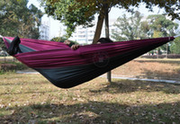 Wholesale Hammocks Parachute Fabric Nylon Taffeta Cot Bed Travel Camping for Two Person Couple Double Outdoor Leisure Respite Mabogany Hammock